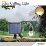 โคมไฟโซล่าเซลล์ ติดเพดาน รุ่นตาข่ายดำ Loft style (แสง เหลืองวอมไวท์)