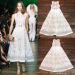 Elie Saab Lace fit and flare dress เดรสคอก