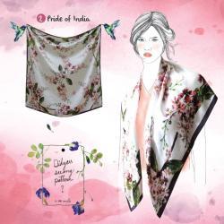 ผ้าพันคอพิมพ์ลายภาพวาดสีน้ำ Pride of India