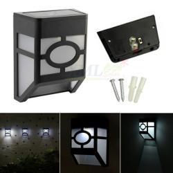 โคมไฟโซล่าเซลล์ ติดผนัง 2 LED ทรง ญี่ปุ่น (เเสง : ขาว)