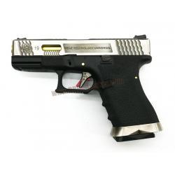 Glock19 Brand War T3 เฟรมดำ สไลด์เงิน ท่อทอง - WE