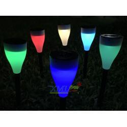 ไฟปักสนามโซล่าเซลล์ 1 LED ทรงกรวย สีขาวขุ่น เเสง หลากสี ( 2 in 1 )