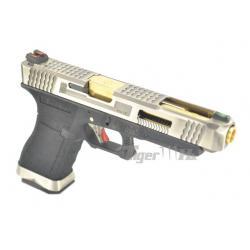 Glock34 T3 Gen4 สไลด์เงิน ท่อทอง เฟรมดำ WE