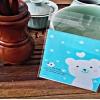 ถุงเบเกอรี่ ถุงขนม แบบมีเทปกาว รูปหมี สีฟ้าอมเขียว 100 ใบ/ห่อ (10*10+3 cm.)