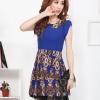 Brand Huiliya เดรสตัวเสื้อผ้าชีฟองเนื้อดีสีน้ำเงิน คอบัว กระโปรงผ้าคอตตอนผสมเนื้อนุมลายกราฟฟิก