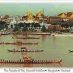 โปสการ์ด วัดพระศรีรัตนศาสดาราม กรุงเทพฯ /วัดพระแก้ว/เรือพระที่นั่ง/แม่น้ำเจ้าพระยา