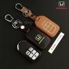 ซองหนังแท้ ใส่กุญแจรีโมทรถยนต์ รุ่นเรืองแสง All New Honda Accord,Civic 2016-18 Smart Key 4 ปุ่ม