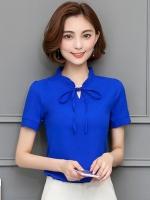 เสื้อเชิ้ตผู้หญิงทำงานสีน้ำเงิน แขนสั้น คอจีบ
