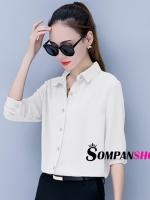 เสื้อเชิ้ตผู้หญิงทำงานสีขาว แขนยาว กระดุมหน้า ผ้าชีฟอง