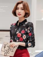 เสื้อเชิ้ตผู้หญิงทำงานสีดำ ลายดอกไม้ แขนยาว