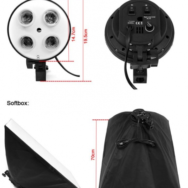 Kit 4 Socket E27 Lamp Holder Softbox