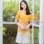 ชุดเดรสสั้นสีเหลือง พิมพ์ลายกลีบกุหลาบสีสวยใส : พร้อมส่ง FreeSize