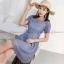 ชุดเดรสลูกไม้สีฟ้า แขนสั้น กระโปรงทรงบาน แนวสวยหวาน เรียบๆ น่ารักๆ : สินค้าพร้อมส่ง