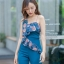 JS0046 จั๊มสูทขายาว จั๊มสูทออกงาน จั๊มสูทเกาหลี จั๊มสูทสายเดี่ยว จั๊มสูทแฟชั่น (สีฟ้า) thumbnail 4