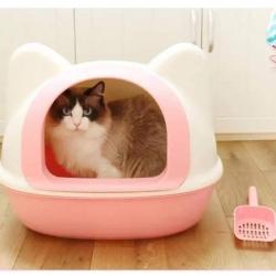 ห้องน้ำแมว จัมโบ้+ แบบโดมรูปทรงหัวแมว สีชมพู *ส่งฟรี*