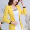 เสื้อสูทแฟชั่นสตรี ใส่ทำงานสวยเก๋ พับปลายแขนโชว์ลาย สีเหลืองสดใส