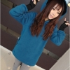 เสื้อคลุมกันหนาวทรงสวม มีฮู้ด แต่งหู สีน้ำเงิน