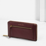 CHARLES & KEITH FRONT ZIP DETAIL WALLET *สีแดงเข้ม