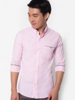 เสื้อเชิ้ต Colour Block Pocket ( PINK )