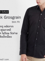เสื้อเชิ๊ตแขนยาว Mini Check Grosgrain Black