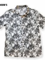 เสื้อเชิ๊ตฮาวาย ลายทางมะพร้าวพื้นขาว