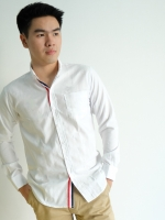 เสื้อเชิ๊ตริบบิ้นรางดุมแขนยาว (สีขาว)
