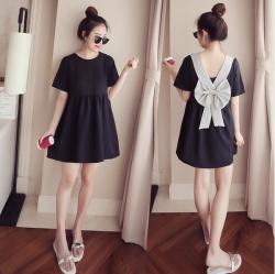 เสื้อแฟชั่น mini Dress แต่งโบว์สีเทาด้านหลัง น่ารัก