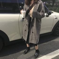 เสื้อคลุมกันหนาว ทรงยาว สไตล์เกาหลี ผ้าทอลายสก๊อต