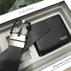 CALVIN KLEIN REAL LEATHER BELT & WALLET VALUE PACK Limited Edition