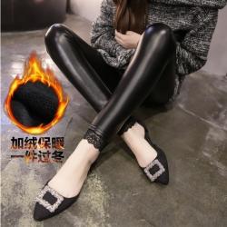 Legging กางเกงเลกกิ้งหนัง ขายาว ใส่อุ่น แต่งชายลูกไม้ สีดำ