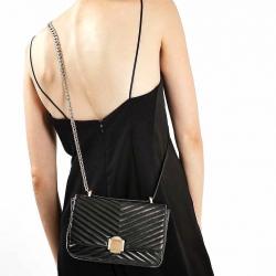 Topshop Shoulder Bag With Chain-ดำ