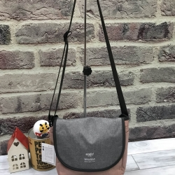 ANELLO MOTTLED FABRIC MINI SHOUDLER BAG WITH FLAP *เทาชมพู