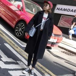 OverCoat เสื้อโค้ทกันหนาว ทรงยาวสไตล์เกาหลี ผ้าเนื้อดีทรงสวย สีดำ