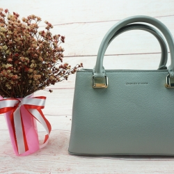 CHARLES & KEITH STRUCTURED TOP HAND BAG *ฟ้า