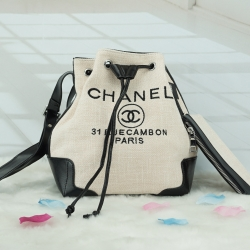 Chanel premium gift canvas ทรงขนมจีบเล็ก *ครีม