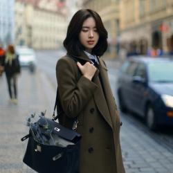 สีเขียวขี้ม้า-เสื้อโค้ทกันหนาว บุซับใน ผ้าเนื้อนิ่ม ทรงสวยสไตล์ญี่ปุ่น