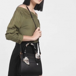 CHARLES & KEITH SCARF WRAPPED HANDLE BAG *ดำ