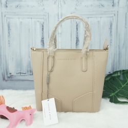Charles & Keith Mini saffiano handbag *สีครีม