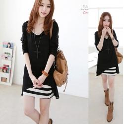 ชุด2ชิ้น เดรสลาย พร้อมเสื้อคลุมสีดำ น่ารัก สไตล์เกาหลี
