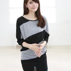 เสื้อแฟชั่นเกาหลีแขนยาว สีเทาดำ