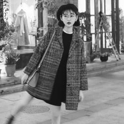 เสื้อโค้ทกันหนาว บุซับในกันลม สไตล์ญี่ปุ่น ลายขาวดำ