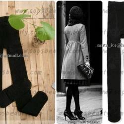 เลคกิ้งกันหนาว คลุมเท้า เลคกิ้งเกาหลี เลคกิ้งบุขน ด้านใน สีดำ