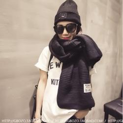 สีดำ ผ้าพันคอไหมพรม เท่ห์ ๆ สไตล์เกาหลี