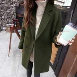 เสื้อโค้ทกันหนาว ทรงยาวสไตล์เกาหลี แบบเรียบง่าย ดูดีสุด ๆ ค่ะ -สีเขียว