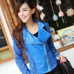เสื้อคลุม แจ็คเก็ตแฟชั่น ซิปหน้าผ้าหนังเทียมแต่งลูกไม้ สีฟ้า