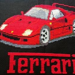 ครอสติชปักสำเร็จ รูปรถ Ferrari สีแดง