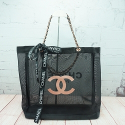 Chanel Black Mesh Tote Bag with Chanel Ribbon