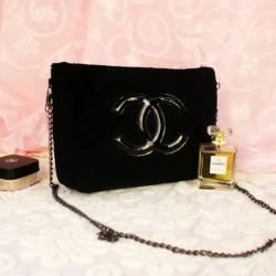 Chanel Precision Velour Crossbody Bag