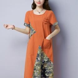 ชุดเดรสยาว แขนสั้น ตัดต่อลวดลายตามแบบ สีส้มอิฐ