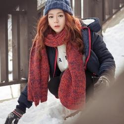 ผ้าพันคอ กันหนาว ไหมพรมเกาหลี โทนสีแดง